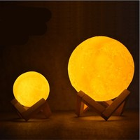 Night Light Rechargeable Moon Lamp 3D Print Full Lunar 2 Color Change Touch Switch Table Lamp