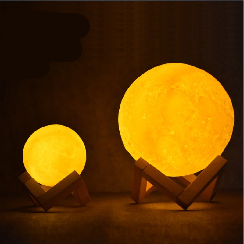 Night Light Rechargeable Moon Lamp 3D Print Full Lunar 2 Color Change Touch Switch table lamp 15cm 20cm ball remote moon lamp rechargeable moon lamp 8 20cm dia 3d