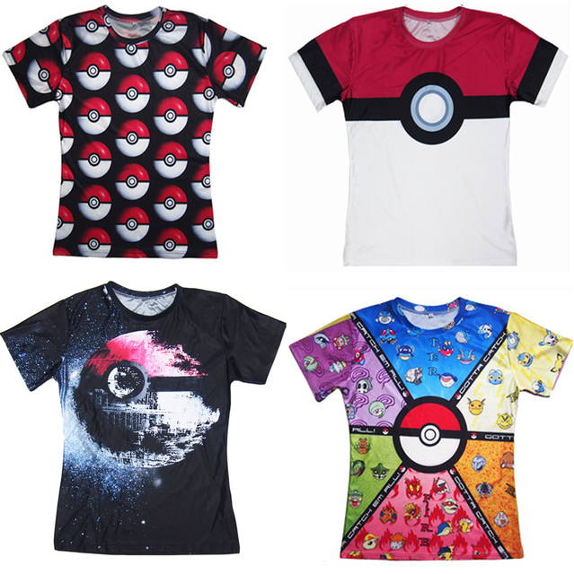 Funny Pokemon 3d t shirt Pokeball Deathstar T-Shirt summer style casual tops pullover unisex women men 4 Style plus size S-3XL