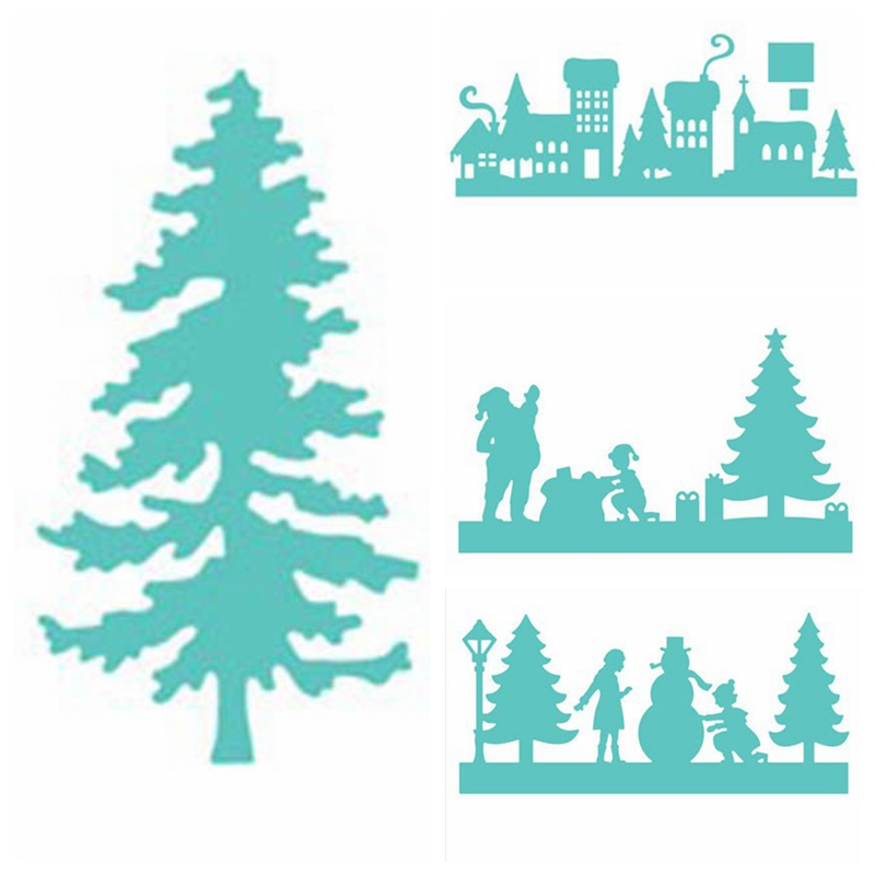Winter Peace House Christmas Tree Metal Cutting Dies Stencil For DIY Scrapbooking Decorative Emboss Craft Die Cutting Template in Cutting Dies from Home Garden