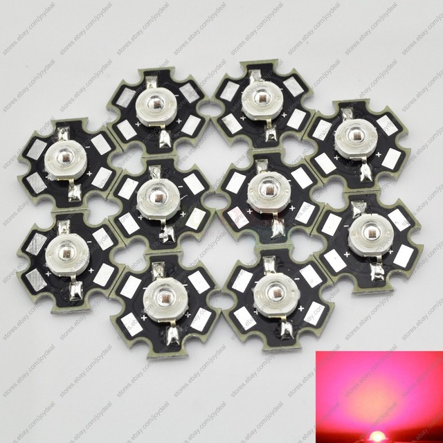 Freeshipping! 10PCS 3W Deep Red High Power 660NM Plant Grow LED Emitter Light 700mA with 20mm Star Platine Heatsink