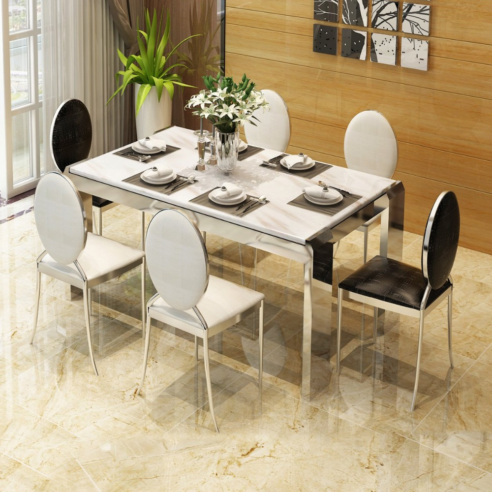 Rama dymasty stainless steel dining room set home furniture modern marble dining table and chairsrectangle table
