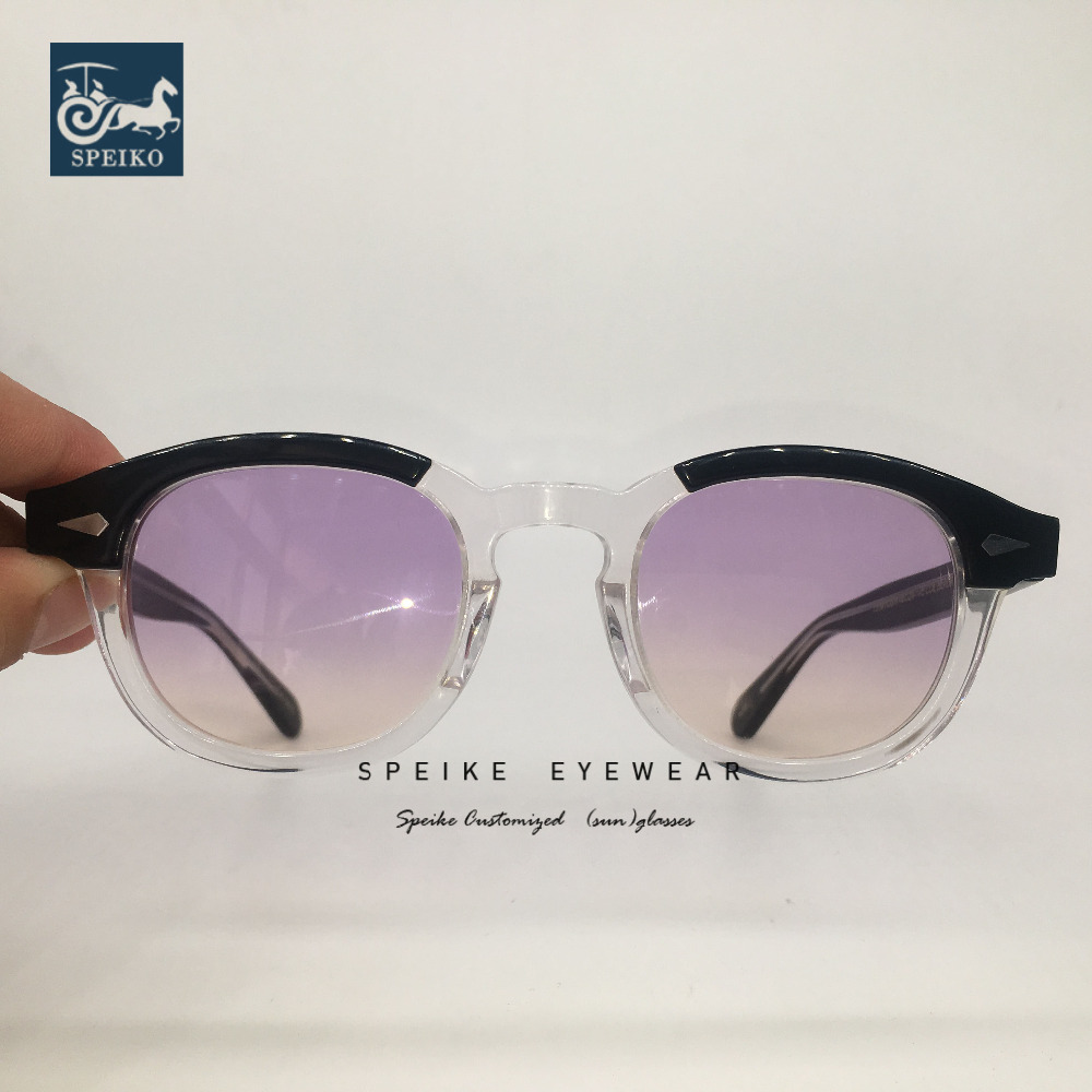 SPEIKE Customized High quality purple yellow  sunglasses Johnny Depp Lemtosh style glasses  can be  myopia sunglasses 44/46/49MM