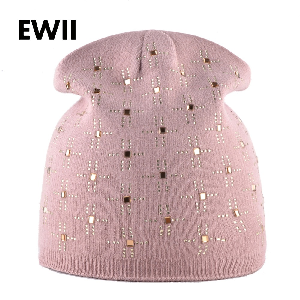 Fashion rabbit wool hats for women winter beanie caps girl rhinestone beanies cap women casual knitted hat skullies cappelli fashion crochet flower hat cap wool knitted hats for women skullies caps for the old lady s women gorros de lana