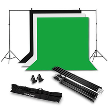 Photo Video Studio 10 x 6.5ft Background Stand Kit Photography Support System with Non-woven Backdrop 9 x 6ft Green Black White