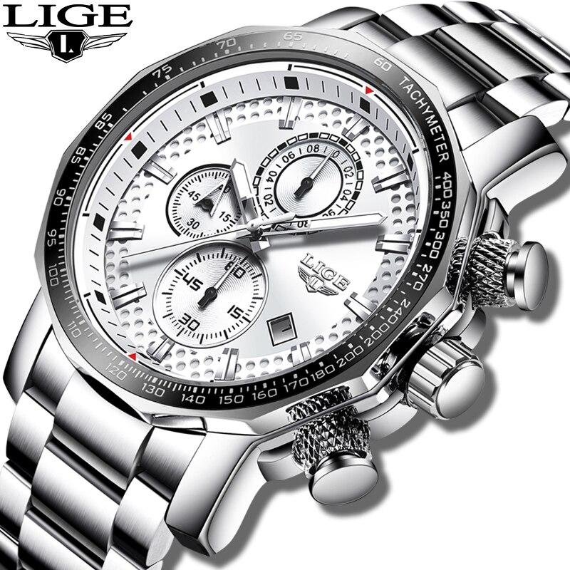 LIGE Montre Hommes Mode Sport Quartz Horloge Hommes Montres Top Marque De Luxe Argent Tout En Acier Étanche Montre-Bracelet Relogio Masculino