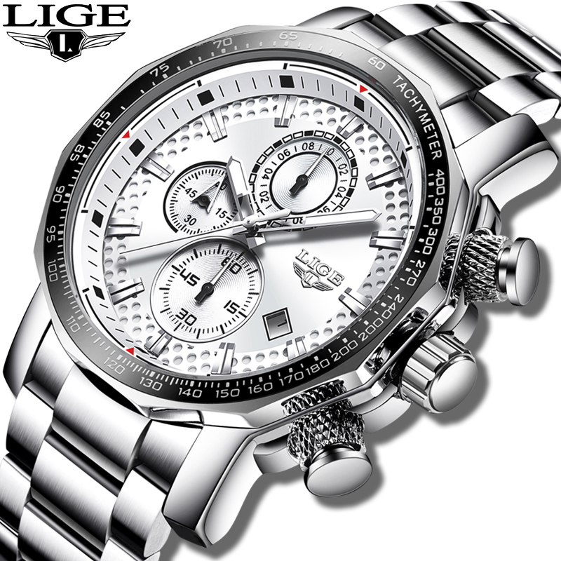 LIGE montre hommes mode Sport Quartz horloge hommes montres Top marque de luxe argent tout acier étanche montre-bracelet Relogio Masculino