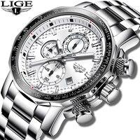 Lige Мужские часы Модные Спортивные кварцевые мужские часы, наручные часы лучший бренд класса люкс серебряные все стальные водонепроницаемы