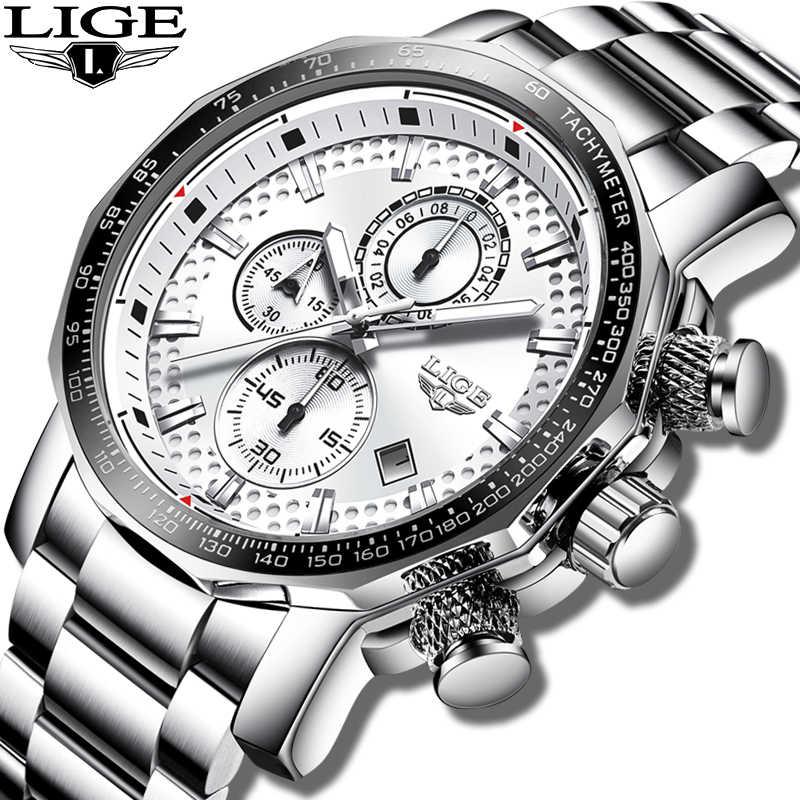 Reloj LIGE para hombre reloj de cuarzo deportivo a la moda, relojes para hombre, relojes de plata de lujo, reloj de pulsera resistente al agua, reloj de pulsera para hombre