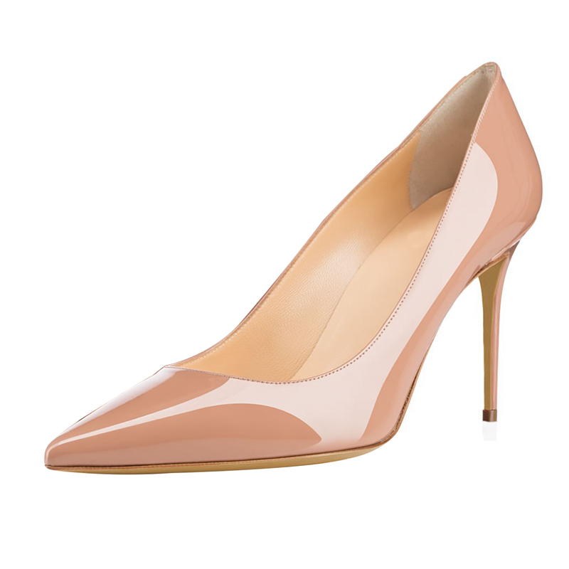 New Classic Patent Leather Women Pointed Toe Sexy Pumps Lady 10cm High Heel OL Single Shoes Party Dress Shoes Plus Size C021B