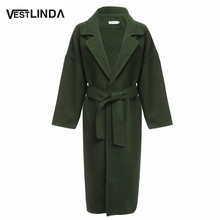 VESTLINDA Women Winter Long Coat Feminino Loose Pockets Overcoat Chic Turn-down Collar Long Sleeve Woolen Overcoat for Ladies