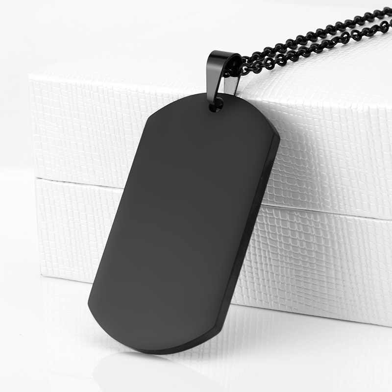 SOITIS Fashion prosta konstrukcja zawieszka dla psa naszyjnik mężczyźni czarne modne naszyjniki wisiorki armia tabliczka znamionowa męski wisiorek