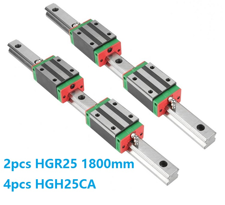 China Made 2pcs Linear Guide Rail HGR25 -L 1800MM + 4pcs HGH25CA Or HGW25CC Linear Slide Block Carriage CNC Part