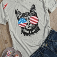 Women Casual Loose T Shirt Tops Flag Glasses Cat Short Sleeve Tee Shirt Fashion Cotton Animal
