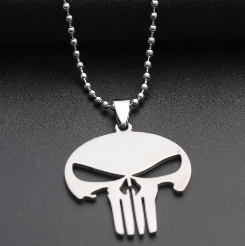 304 Stainless Steel Cosplay Skull Pendant Necklace Hot Sale Super Hero Punisher Jewelry Gift Drop Shipping Accept YLQ2017