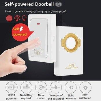 Leshp 참신 무선 초인종 자체 전원 원격 버튼 및 수신기 mp3 디지털 장거리 ip47 홈 보안 방수