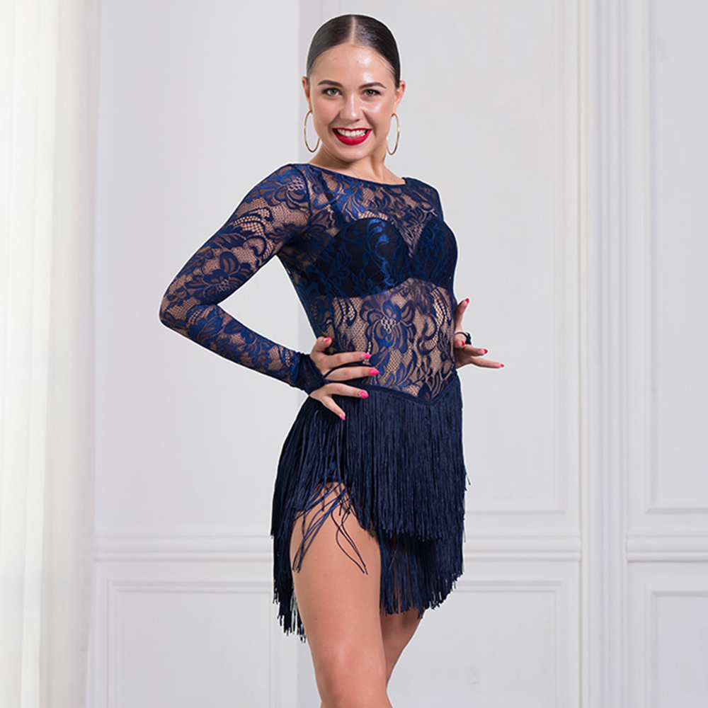 New Latin Dance Dress Women Lace Split Skirt Latine Femme