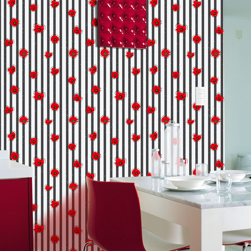 Pastoral Style Red Flower Stripe Wallpaper Modern Dining Room Kitchen Self-Adhesive Waterproof PVC Wall Paper Home Decor StickerPastoral Style Red Flower Stripe Wallpaper Modern Dining Room Kitchen Self-Adhesive Waterproof PVC Wall Paper Home Decor Sticker