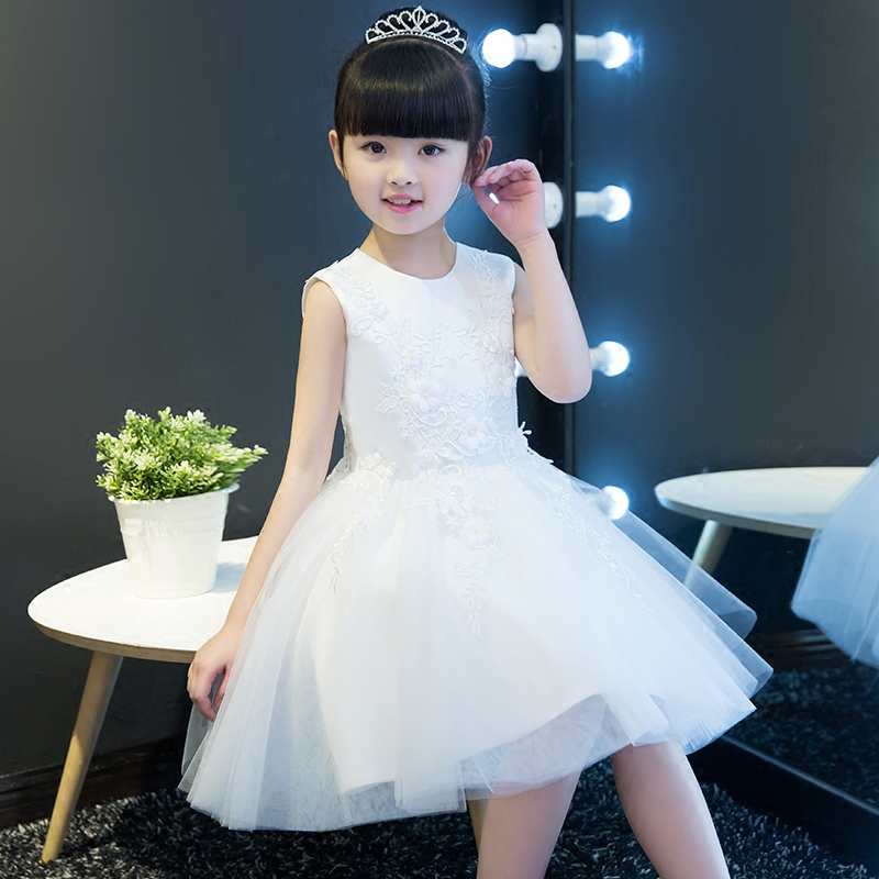 100% Real Photos White Color Lace Flowers Girl Dresses For Weddings 2017 Summer Kids Prom Dresses Ball Gown For Birthday Party 2017 real 100