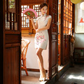 New Arrival Fashion Traditional Chinese Dress Women Silk Cheongsam Qipao mini Vestido De Festa Size S M L XL XXL Z20160322