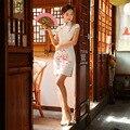 Nueva llegada de la manera dress mujeres de seda cheongsam qipao chino tradicional mini Vestido De Fiesta Tamaño Sml XL XXL Z20160322