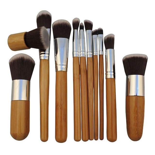 11PCS Bamboo Makeup Brushes Set With Cloth Bag Cosmetics Face Foundation Brush Powder Blusher Eyeshadow Beauty Blending Tool Set 3