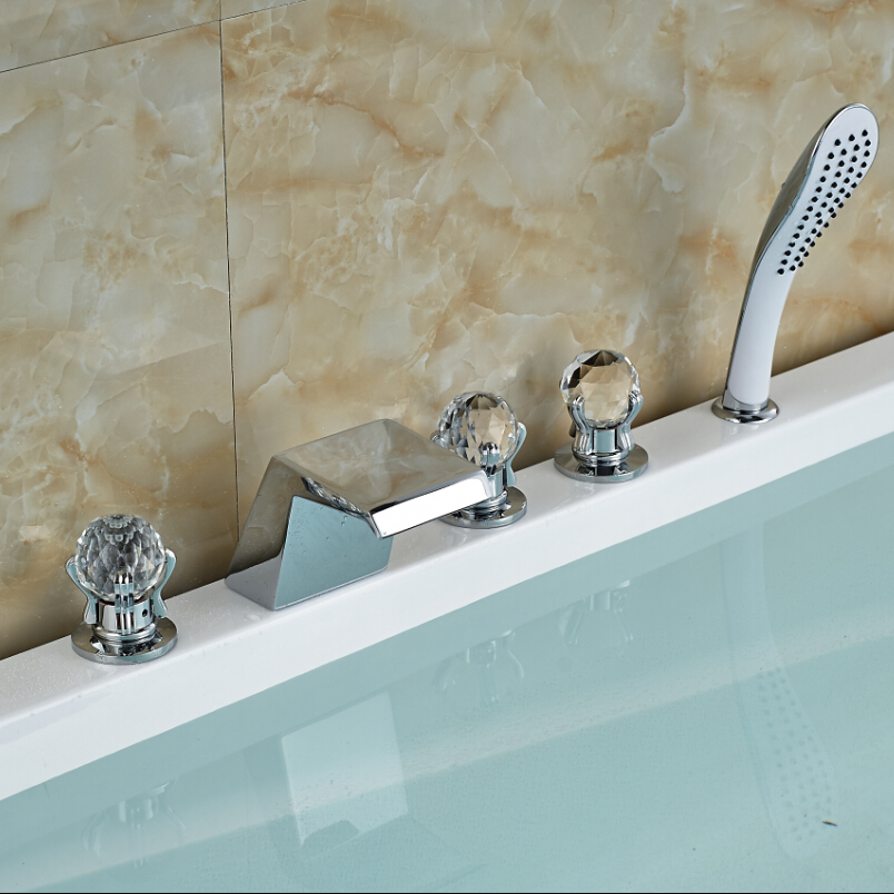 Chrome Finish 5 Pcs Waterfall Bathtub Tub Mixer Tap Bathroom Mixer .