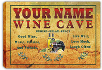 scqw2-tm Wine Cave Bar Custom Name Personalized Stretched Canvas Print Sign Wholesale Dropshipping