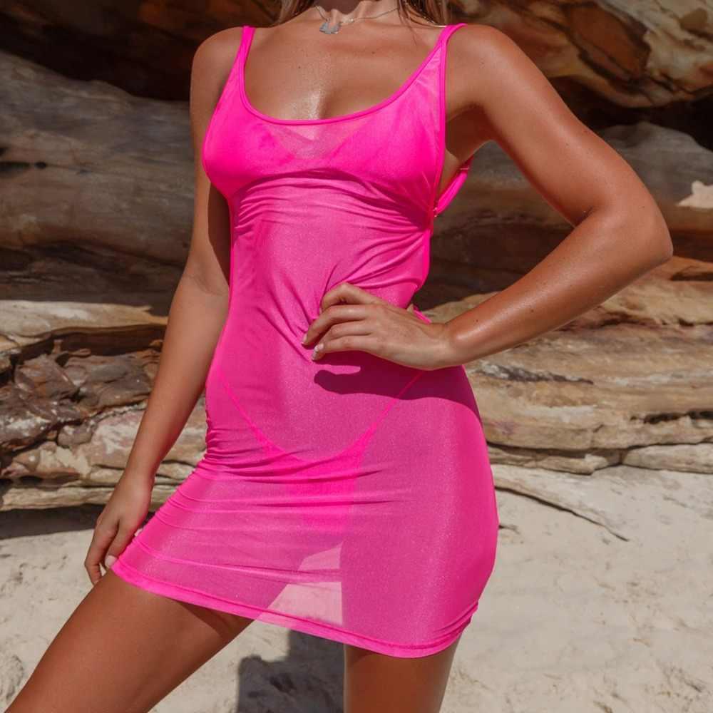 Bkld модное неоновое зеленое розовое повседневное женское летнее платье без рукавов сексуальное прозрачное Сетчатое Бандажное облегающее платье 2019 новое мини-платье