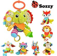 Sozzy Multifunction Infant Animal Plush Toys Baby Sound Paper Teether Toy Stroller Bed Bell Appease For Newborn