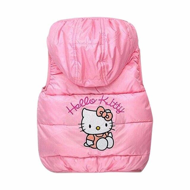 2b833dcf2 BOTEZAI Winter girls cotton cartoon vest Hello Kitty hooded girls jacket  soft Fleeces keep coat children coats children clothes