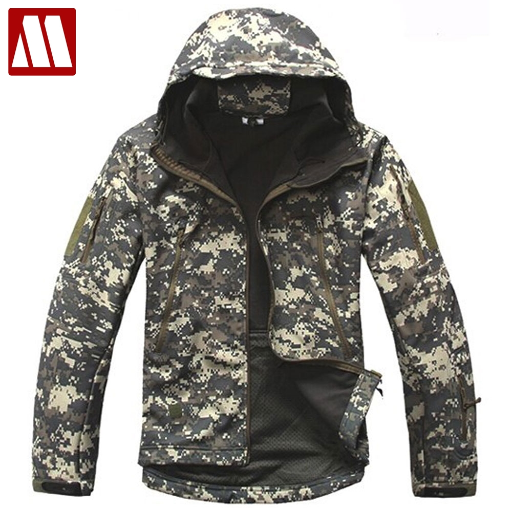 Hooded Men Winter battle Jackets Waterproof Tactics Jacket Men's military Clothes Army Camouflage Soft Shell Coat Big Size XXXL-in Jackets from Men's Clothing    1