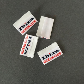 Customized Center Fold Woven Flag Labels