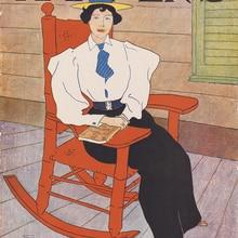 Vintage posters reproducción mural decorativo moderno impresiones de la mujer de septiembre en un sillón retrato de Ed Penfield
