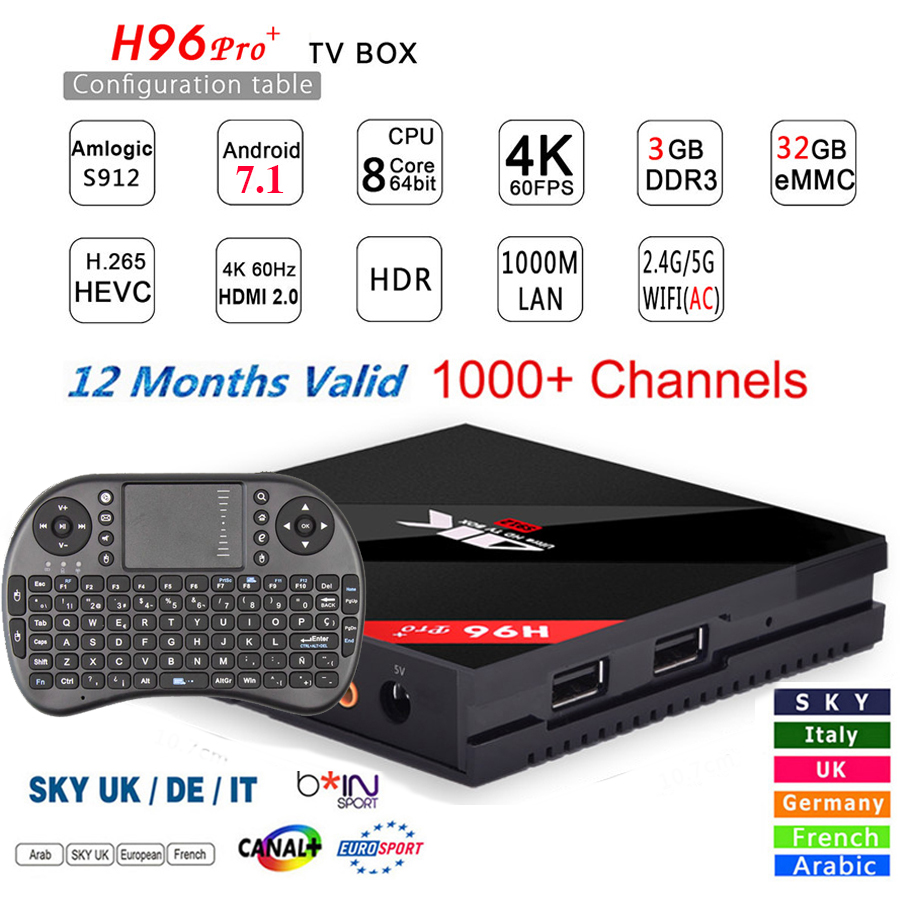 Arabic Iptv Box H96 PRO plus Smart Android7.1 TV Box 1 Year IPTV Subscription UK French Italy Germany Europe IPTV Server Top Box