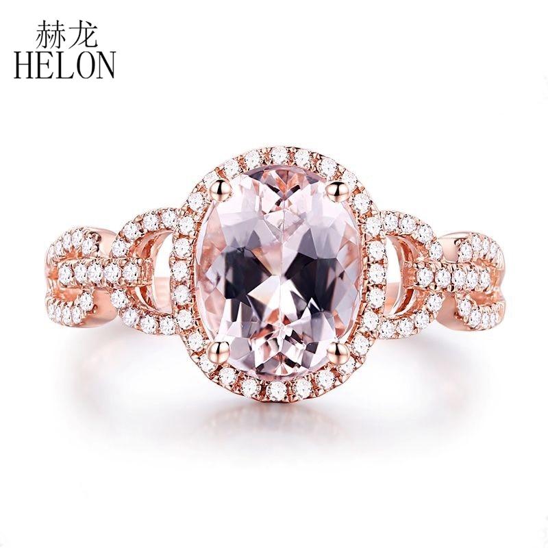 купить HELON Solid 14k Rose Gold 9x7mm Oval Cut 2CT Genuine Morganite Engagement Real Natural Diamonds Gorgeous Wedding Ladies Ring по цене 21994.14 рублей