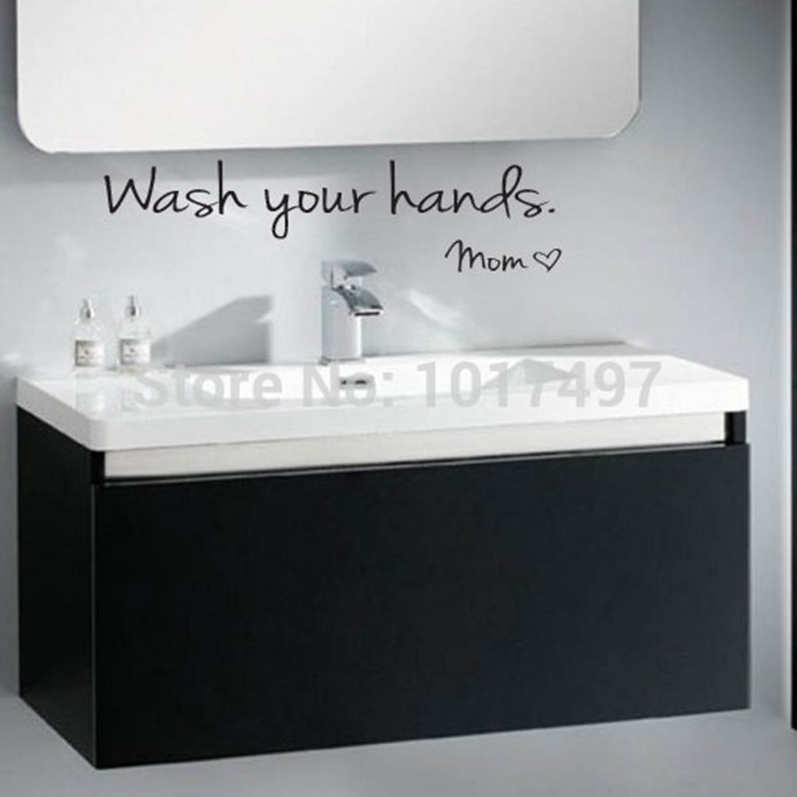 Bathroom wall stickers wash your hands love mom waterproof art bathroom wall stickers wash your hands love mom waterproof art vinyl decal bathroom wall decor f2071 in wall stickers from home garden on aliexpress amipublicfo Choice Image