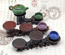 Shocking wood root carving odd jade teapot jade carving ornaments base level of three models