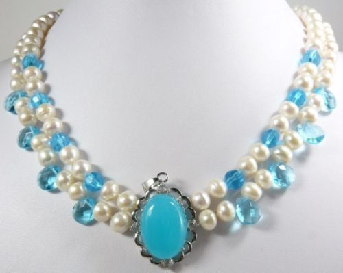 free shipping > >>>>2 color White Freshwater Pearl pink & Blue Moonstone Pendant Necklace A341