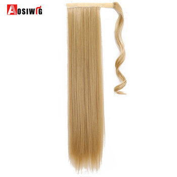 "AOSIWIG 24"" 120g Straight Clip In Hair Tail False Hair Ponytail Hairpiece With Hairpins Synthetic Hair Pony Tail Hair Extensions"