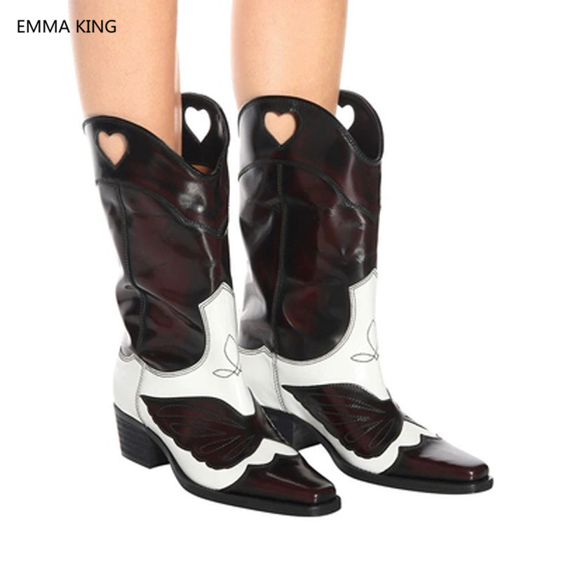 2018 Winter Mixed Color Leather Square Heels Mid Calf Boots For Women Brown Pink Shoes Embroidered Slip On Western Cowboy Boots