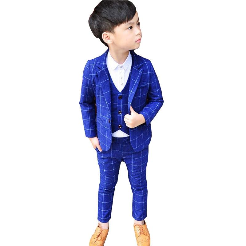 Enfants garçons costumes enfants Blazer formel robe costume pour les mariages anniversaire vêtements ensemble vestes gilet pantalon 3 pièces