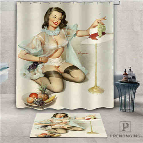 Custom image of pin up  (1) Waterproof Shower Curtain  Doormat Home Bath Bathroom  Polyester Fabric Multi Sizes#2019-01-12-272