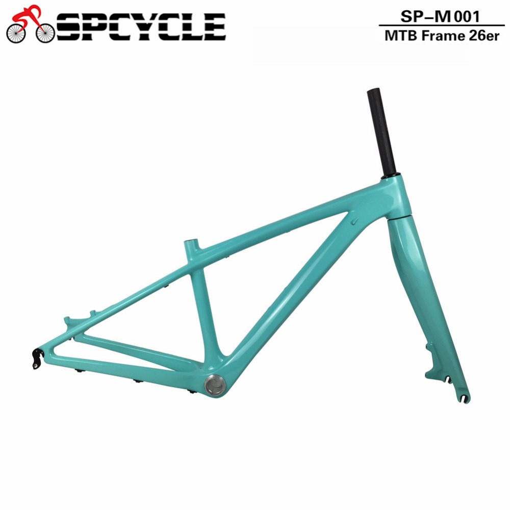 Spcycle 26er 14inch Full Carbon Mountain Bike Frame And Fork T1000 Carbon MTB Bicycle Frameset With Headset BB92 Clamp 2019 N