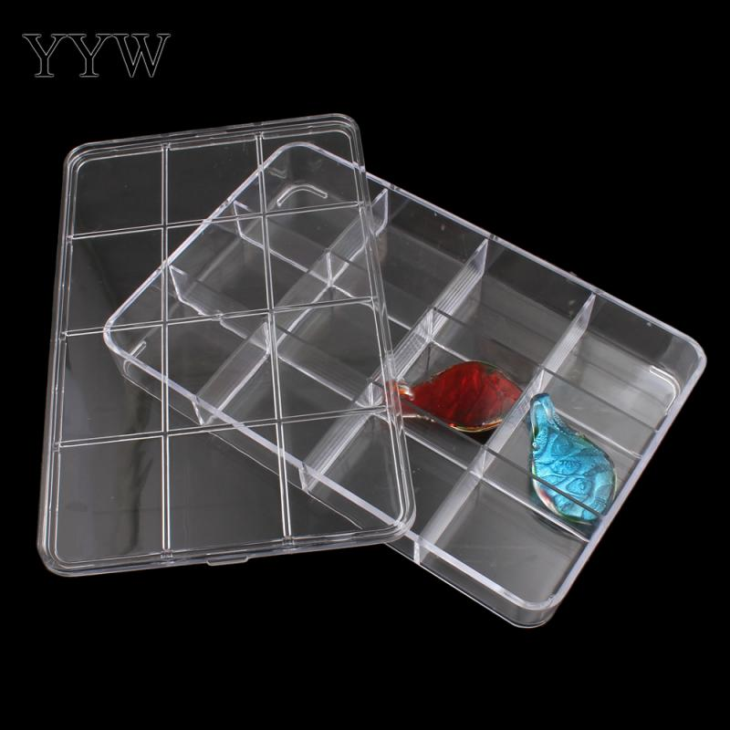 12 Cells Rectangle Plastic Box Jewelry Beads Container Clear Case 22.5x14.5x3.5cm Sold By PC