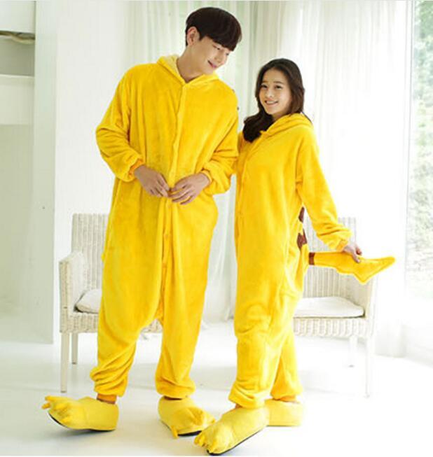 441a8e639b 2018 Winter Pyjamas Pikachu Cosplay Animal Hoodie Sleepwear Pajamas Adult  Yellow Unisex Onesie Cosplay Costume Pajamas overall-in Anime Costumes from  ...