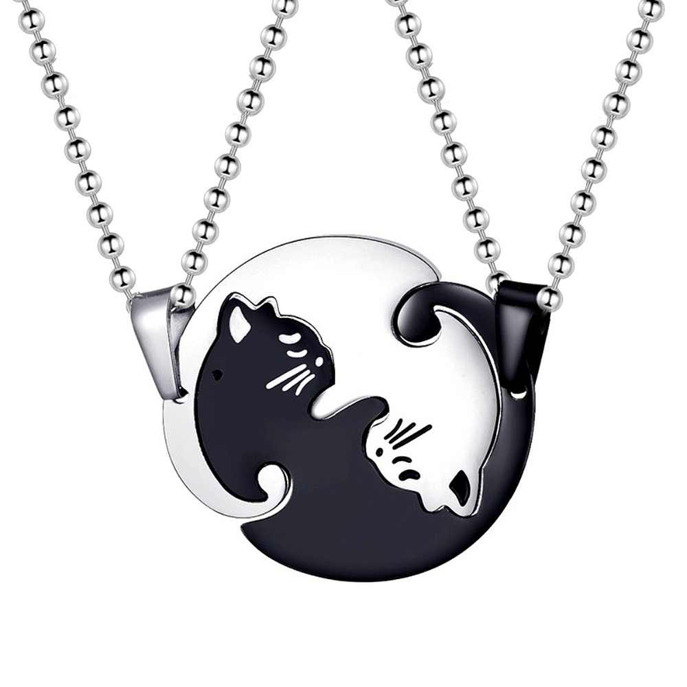 Almei Titanium Stainless Steel Halloween Necklace Couple Puzzle Matching Black White Cat Pendant Necklaces for Lovers SN156