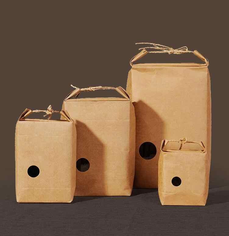 20 штук Красный & крафт Чай упаковочный картон пакет из крафт-бумаги, коробочка с прозрачным окошком для печенья, продуктов питания для хранения стоя пакет для бумаг