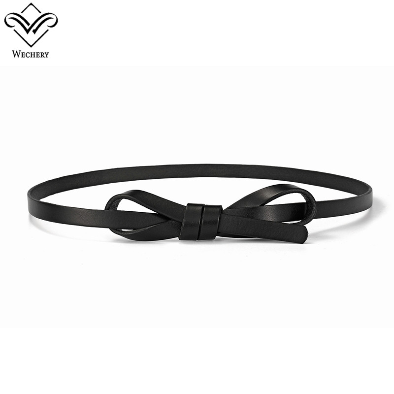 Wechery 2018 New Vintage Self-Tide Belt Ladies Leather Thin Waistband Retro Slim Belts for Women Adjustable Elegant Straps
