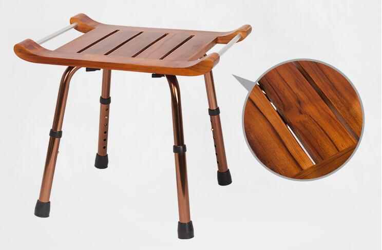 Us 84 55 5 Off Solid Teak Wood Stool Bench With Aluminum Alloy Legs Shaving Shower Stool Seat For Bathroom Toilet Waterproof And Easy Clean In